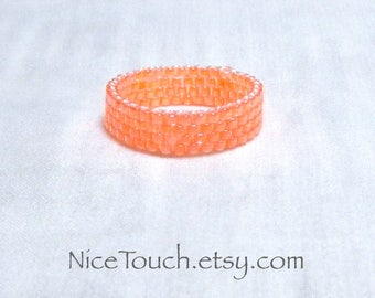 SUMMER SALE!!! Free Shipping or Save 20% ~ Perfectly Peach peyote woven beaded ring ~ Made to Order