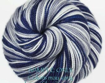 "Dyed to Order: Self-striping Sock Yarn ""BLUE - GRAY - WHITE"" Handdyed yarn - Football Baseball Sports School colors - Dallas, Connecticut"