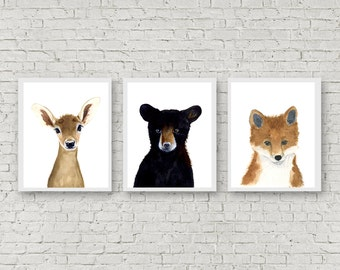 Forest babies, Set of Prints, Animal Paintings, Fox, Bear, Deer, fawn, Original painting, Childrens Wall Decor, Nursery, Kids Art Print
