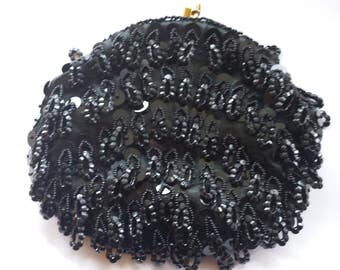 Vintage Black Beaded and Sequined Purse