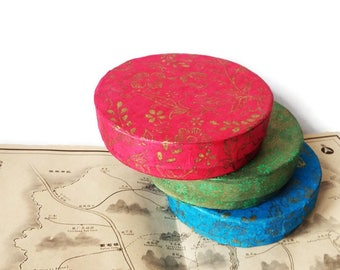 Three Vintage Japanese Pressed Paper Boxes/ Gift Boxes/ Handmade Paper Boxes/ Asian