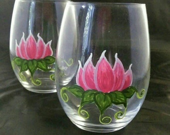 Stemless Lotus Flower Wine Glasses