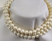 """Vintage Mid Century Three Strand Faux Pearl Necklace - 14"""" long"""