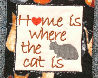 Mug Rug - Home is where the cat is