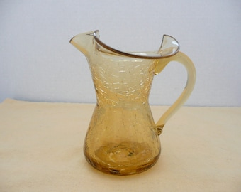 LARGE Mid Century Modern Ruffle Top Amber Crackle Glass Pitcher