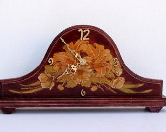 Old Fashioned Clock, Wood Antique Clock, Mantel Clock, Decorative Desk Clock, Floral Clock