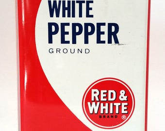 Vintage Tin White & Red Pepper
