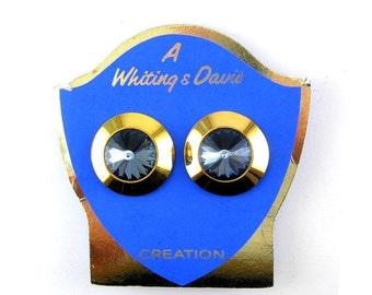NOS WHITING & DAVIS Montana Sapphire Blue Rivoli Rhinestone Earrings - Never Worn