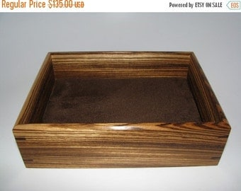 "HOLIDAY SALE Valet Box in Zebrawood. Wooden Tray Upholstered in Suede Fabric. 8"" x 6"" x 2.25"""
