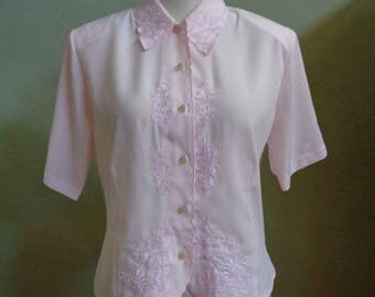 """Vintage Claudia Richard Pink Short Sleeved Blouse Embellished with Machine Embroidery Bust 40"""" Waist 37"""""""