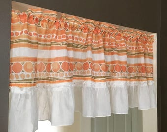 Peaches and cream window valances set of 2 ruffled sheer valance 1970's white taupe olive peach orange enough for 2 windows pretty ruffles