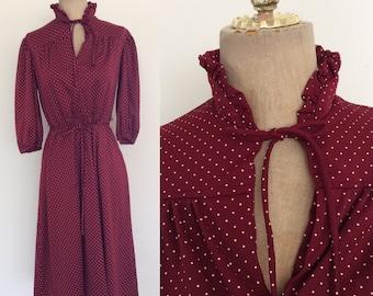 1970's Maroon Polka Dot Ascot Bow Dress Size Medium Large XL by Maeberry Vintage