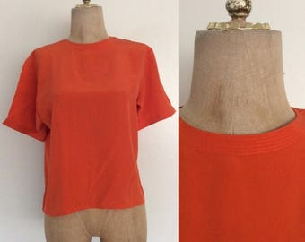 30% OFF 1980's Orange Silk Top Vintage Blouse Size Small by Maeberry Vintage