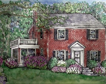 Custom House Portraits in Pen&Ink and Watercolor from your photos,handpainted original Home Portraits,Mothers' Day,Easter,Birthday,Realtors
