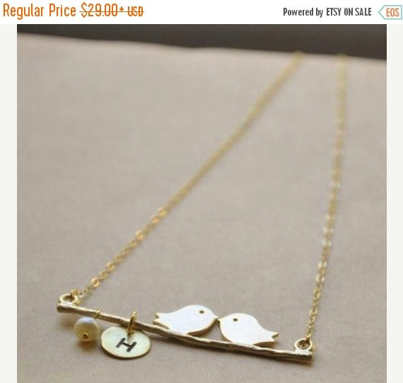 HOLIDAY SALE Personalized 14K Gold Filled Kissing Lovebirds Necklace- Nature Inspired Wedding, Great Customized Bridesmaids Gifts, Mother-Da