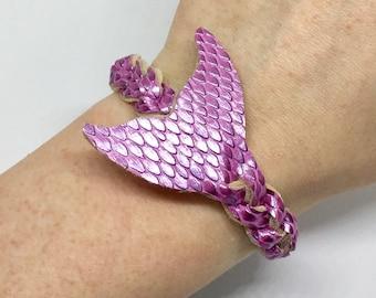 Flirtacious pink mermaid mystery braid wrap bracelet- beach summer accessory