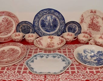 25 Pieces Lot Vintage Red and Blue Transferware Dinnerware - Mix and Match - Perfect for Patriotic Holidays - Memorial Day - Wedgwood