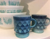 Two Fire King Kimberly Mugs in Blue