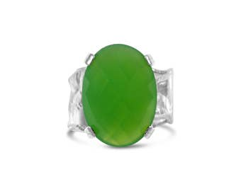 Oval Green Chalcedony Sterling Silver Ripple with Organic Textured Band Colored Gemstone Ring Size 5- 6.75
