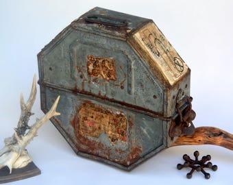 Vintage Octagonal Movie Film Reel Canister: Rustic Metal Industrial GOLDBERG Storage Trunk / Carrying Case -- Heavy Duty, Intricate Latch