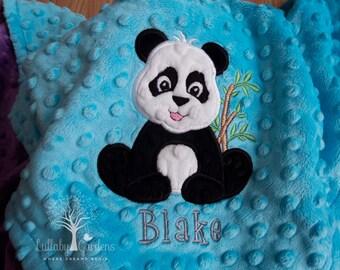 Panda Personalized Minky Baby Blanket, Appliqued Panda Minky Baby Blanket, Personalized Baby Gift,  Turquoise Panda Bear Baby Blanket