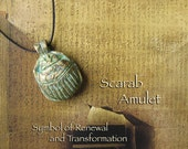 RESERVED for Sonya - Scarab Amulet - Khepri -  Ancient Egyptian Symbol of Creation and Rebirth - Handcrafted with Aged Golden Brass Patina