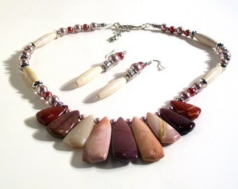 Multi Color Agate Pendant Necklace, One of a Kind, 2 Piece Necklace Set, Delicate Necklace, Classic Jewelry