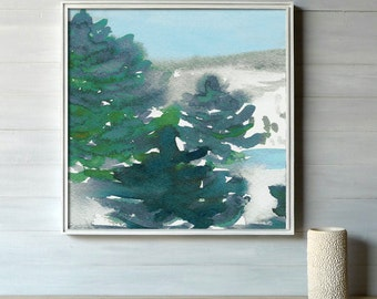 Watercolor Tree Art Painting - Winter's Tale Mountain Landscape Scenic Art Print