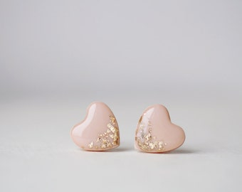Beige Gold Foil Heart Stud Earrings - BUY 2 GET 1 FREE