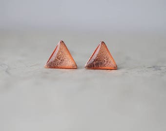 Rose Gold Foil Triangle Shimmer Stud Earrings, Sparkling Geometric ear posts