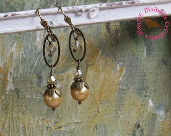 Long Gold and Brass Pearl Earrings, Antiqued Brass Gold Pearl Earrings,  Long Pearl and Crystal Dangle Earrings, by MagpieMadness for Etsy