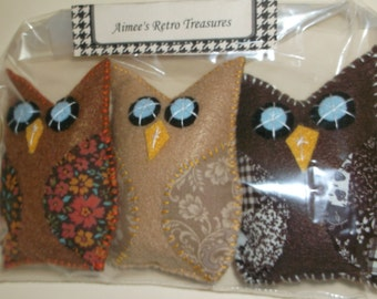 3 Hand Crafted Felt Owl Ornaments Ornies -  Autumn Colors