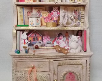 Dollhouse Miniature BESPAQ Nursery or Shop Filled Toy Cabinet