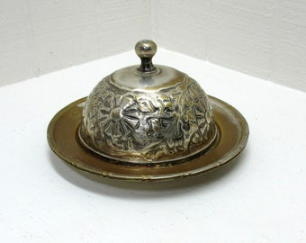 Vintage Brass Dish / Tray Repousse Lid