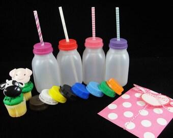 FOUR Plastic Milk Jugs/Bottles with Colored Lids, Kids Parties. Farm Party, Kids Drink Jar, Plastic Drink Jar, Kids Milk Bottle, Party Favor