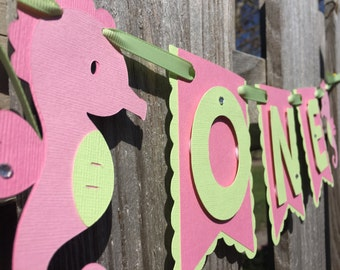 Seahorse Baby's First Birthday Banner