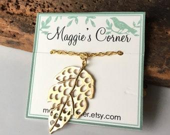 Leaf Necklace, Pendant Necklace, Autumnal Necklace, Fall Necklace, Dangle Necklace, Simple Necklace