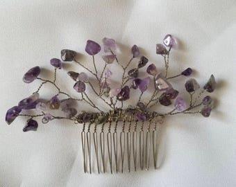Wedding amethyst hair comb