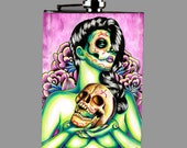 Stainless Steel 8 oz. Hip Flask - Lies - Lowbrow Tattoo Flash Pretty Day of the Dead Pin Up Girl With Sugar Skull