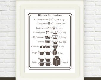 Brown Kitchen Print Printable // Measurement Conversion Chart // Instant JPEG Download // Kitchen Art // Ounces to Cups Cups to Pints