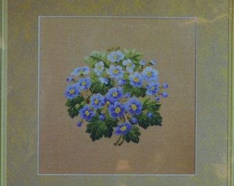 Blue Spring Flowers  – Permin of Copenhagen – Danish Art Needlework – Cross Stitch  Chart 155326