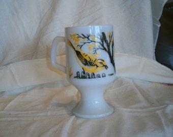 Vintage Milk Glass Vireo Pedestal Mug