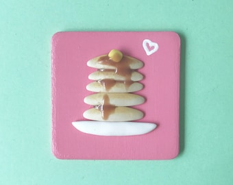 Pancake Love Polymer Clay Miniature Plaque