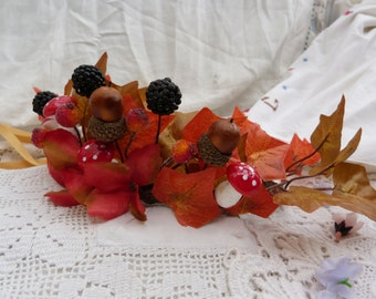 Autumn queen fairy crown - toadstools, acorns, berries, fall leaves - mabon