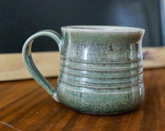 Handmade Pottery Coffee Mug Tea Cup, Dark Green Speckle Glaze Pottery Mug 10 oz, Ready to Ship Wheel Thrown Mug