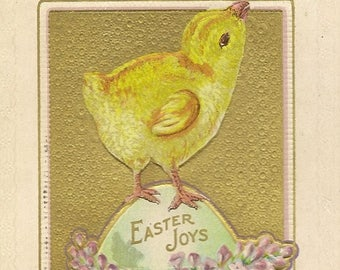 Embossed Antique Easter Postcard Yellow Chick Large Easter Egg and Spring Lilacs 1911