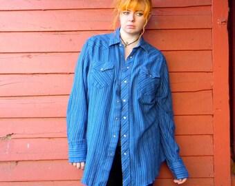 90s Blue Striped Wrangler Western Cotton Snap Up Cozy Hipster Cowboy Rocker Western Shirt L Tall