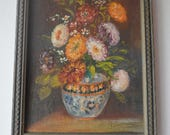 Framed Original Oil on Canvas, Zinnia Flowers in Vase, Signed