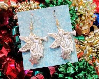 Angel earrings Christmas angels Christmas earrings brockus Creations