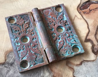 Old Brass Small Butte Hinge with Homemade Verdigris